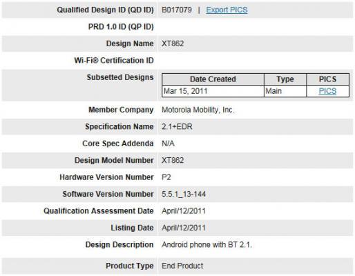 Motorola-Droid-2-Bluetooth-Certification